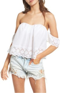 BP Eyelet Off the Shoulder Crop Top ($27): http://shopstyle.it/l/LYb