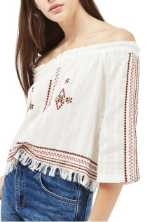 Topshop Bardot Embroidered Top ($39): http://shopstyle.it/l/LXr
