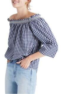 Madewell Smocked Gingham Off the Shoulder Top ($50): http://shopstyle.it/l/LXp