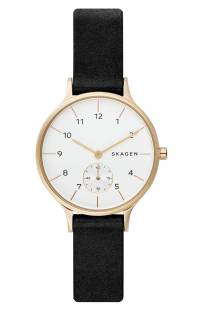 Skagen Anita Leather Strap Watch, 34mm ($99.90) http://shopstyle.it/l/cPvB