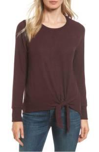 Gibson Tie Front Cozy Fleece Pullover ($39.90) http://shopstyle.it/l/cXzk