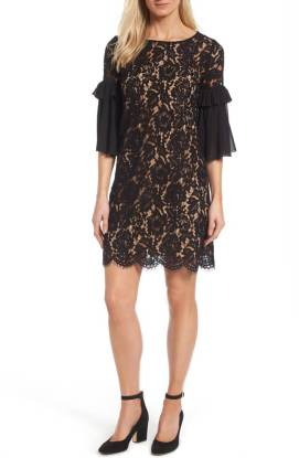 Karen Kane Ruffle Sleeve Lace Shift Dress ($105.90) http://shopstyle.it/l/c34X