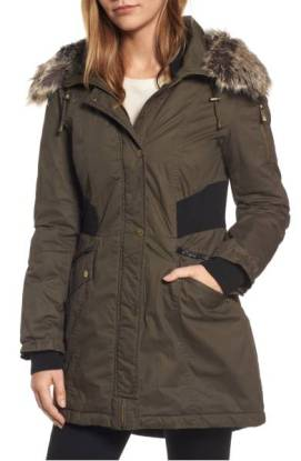 French Connection Mixed Media parka with Faux Fur Trim Hood ($159.90) http://shopstyle.it/l/dkz0