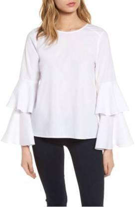 Chelsea28 Bell Sleeve Poplin Top ($58.90) http://shop.nordstrom.com/s/chelsea28-bell-sleeve-poplin-top/4599279