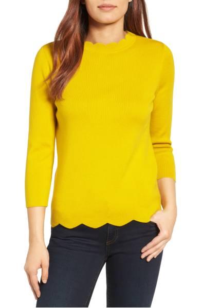Halogen Scallop Edge Sweater ($39.90) http://shop.nordstrom.com/s/halogen-scallop-edge-sweater-regular-petite/4543135