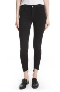 FRAME Le High Skinny Step Hem Jeans (Film Noir) ($154.90) http://shopstyle.it/l/c199